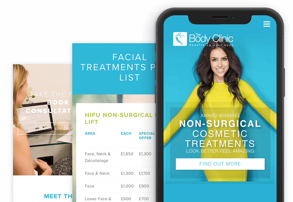 The Body Clinic Mobile Website Design