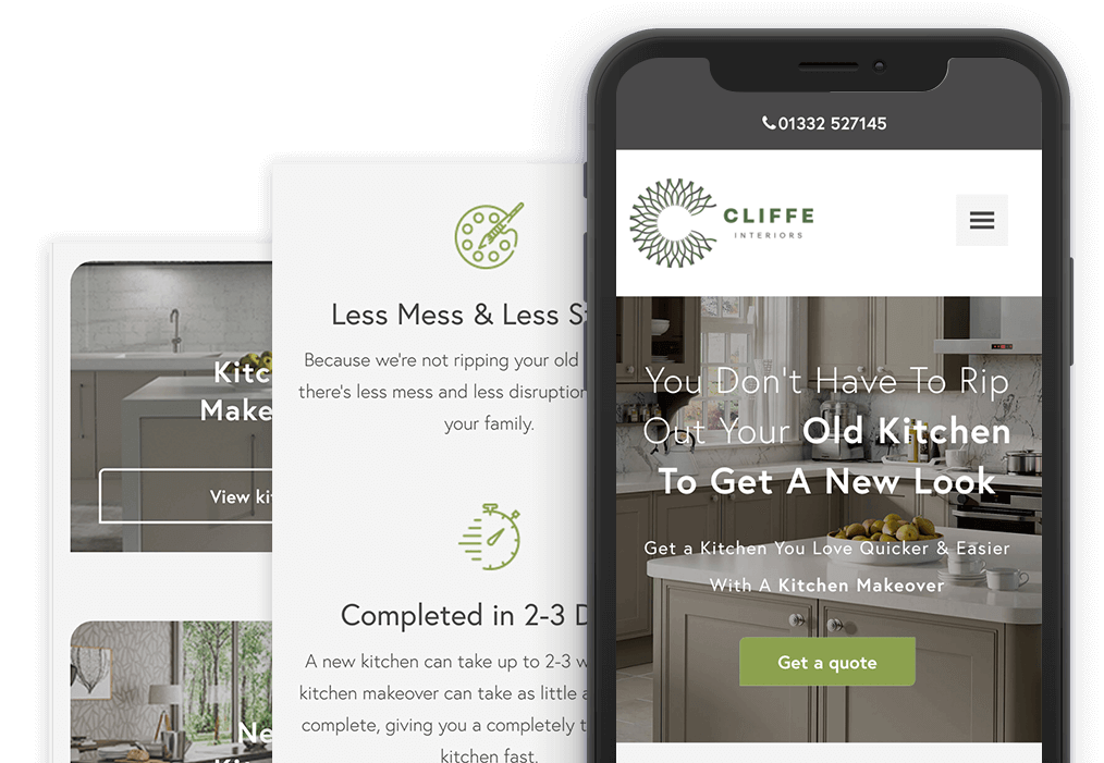 Mobile responsive web design kitchens