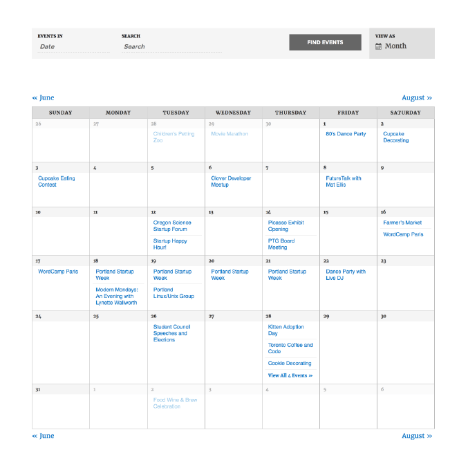 Membership Events Calendar WordPress