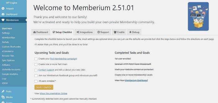 Memberium Membership Webite Dashboard