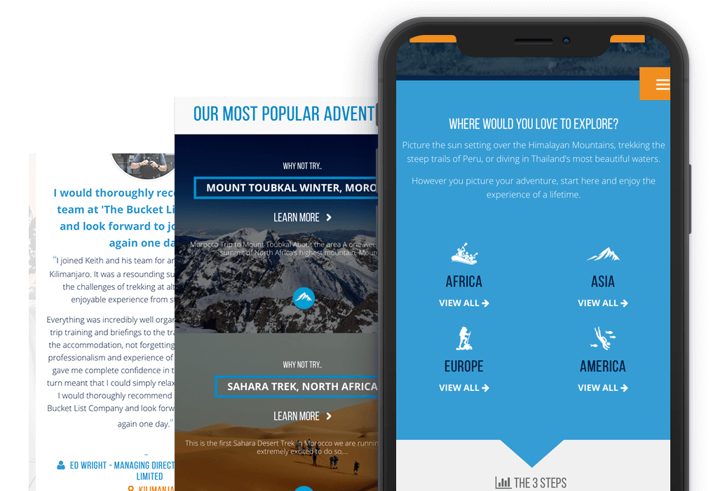 The Bucketlist Mobile Website Design