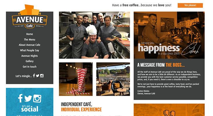 Avenue Cafe Web Design